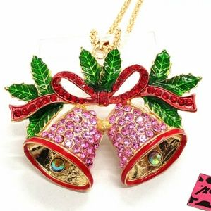 NWT Betsey Johnson Pink Bells Sweater Necklace